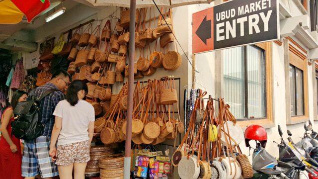 woven bali bag at ubud art market
