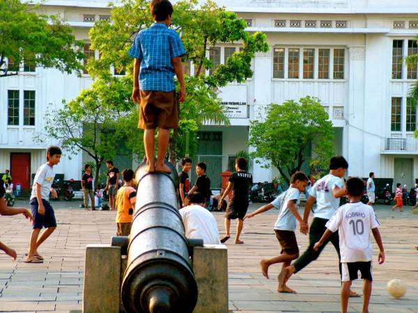 Stepping A Dutch Cannon and Playing Soccer in Jakarta Old Town Square