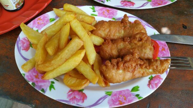 fish and chips at red island beach