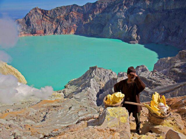 Ijen Crater Sulfur Miner