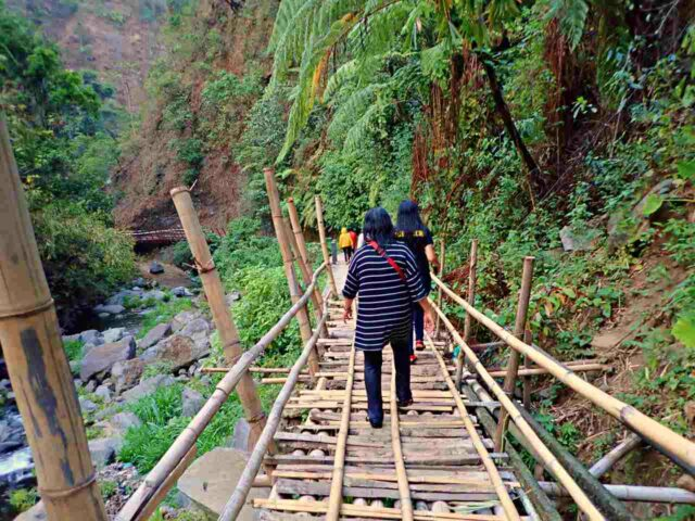 wooden bridge to get to the fall
