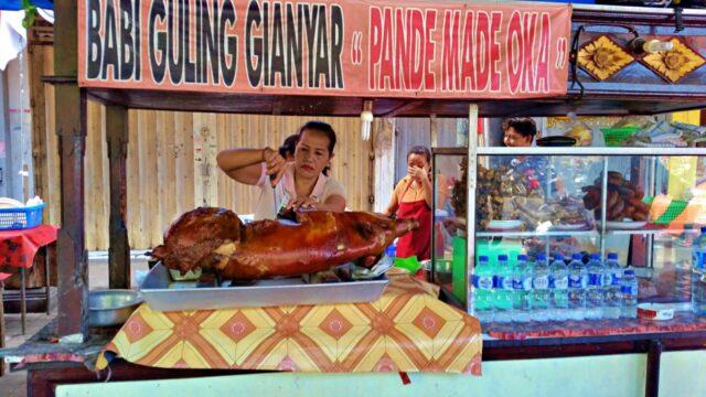 suckling pig at Gianyar Night Market