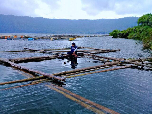 Fresh water pond in lake batur