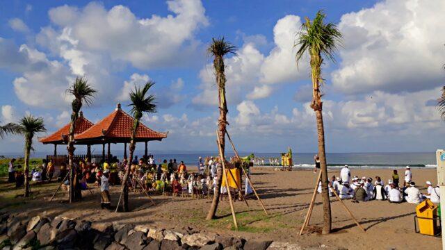 Religious ritual ceremony in petitenget beach