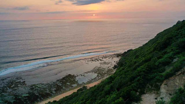 sunset view from nyang nyang beach cliff