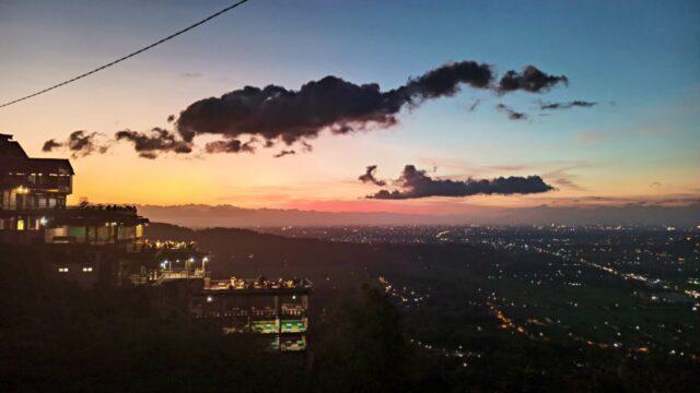 sunset and city light
